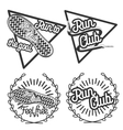 Vintage run club emblems vector image vector image