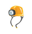 yellow worker helmet with flashlight vector image