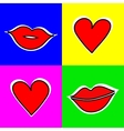 Set of signs with a picture of the lips and vector image