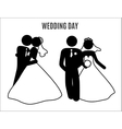 stick figure wedding couples vector image