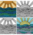 abstract wave and sun background vector image vector image