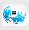 aqua rounded background splash water on white vector image vector image
