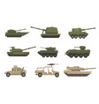 armored army vehicles set military heavy special vector image vector image