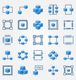 blockchain blue icons set - block chain vector image vector image