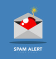 bomb inside a message letter spam alert vector image