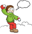 boy with snowball and tgought bubble vector image vector image