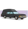 cartoon black long retro car with rorack vector image vector image