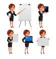 Cartoon business woman presentation set2 vector image