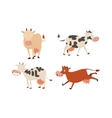 cartoon cow characters vector image vector image