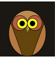 cartoon owl of brown color on a black background vector image vector image