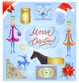 Christmas elements set on light blue background vector image