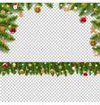 christmas fir tree borders with christmas toys vector image vector image