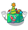 clown children toy boxes isolated on mascot vector image vector image