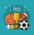 colorful poster of sports lifestyle with trophy vector image vector image