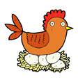 comic cartoon hen on eggs vector image vector image