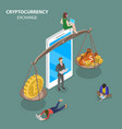 cryptocurrency exchange flat isometric vector image vector image