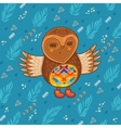 Cute cartoon owl flying in the sky vector image