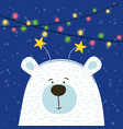 cute hand drawn polar bear with hoop head vector image vector image