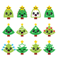Cute Kawaii Christmas green tree with star vector image vector image