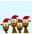 deers with red santa hat vector image vector image