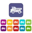 dump truck icons set flat vector image vector image