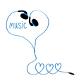 Earphones and blue cord in shape of three hearts vector image vector image