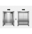 elevator open and closed chrome metal elevator vector image