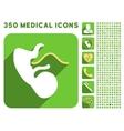 Embryo Cord Icon and Medical Longshadow Icon Set vector image vector image