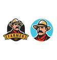 farmer emblem farm agriculture symbol vector image vector image