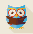 flat knowledge and education owl reading book vector image