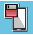 floppy disk with smartphone isolated icon design vector image