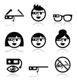 Google glass icons set vector image vector image