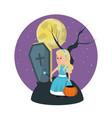 halloween and girl vector image vector image