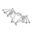 halloween bat doodle element isolated vector image