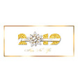 happy new year card 3d gift ribbon bow gold vector image