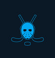 hockey icon with mask and crossed sticks vector image vector image