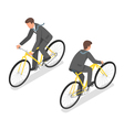 Isometric of a businessman riding a bicycle vector image vector image