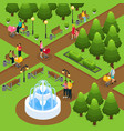 isometric people in public park template vector image vector image