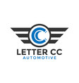 letter cc automotive wing logo icon design vector image vector image