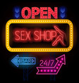 luminous sexshop signs set vector image