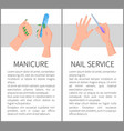 manicure and nail service promotional posters vector image vector image