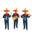 mariachi mexican street band in national costume vector image vector image