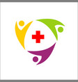 medical logo design with people circular vector image vector image