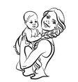 mother with a bain her arms vector image