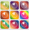 radar icon sign Nine buttons with bright vector image vector image