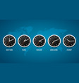 realistic detailed 3d clock on a map world time vector image vector image