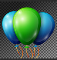 realistic green and blue balloons with ribbons vector image