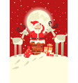 santa claus in chimney with deers in the vector image vector image