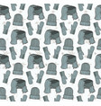 seamless pattern of hats mittens and a scarf vector image vector image