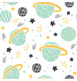 seamless pattern with doodle planets and stars vector image vector image